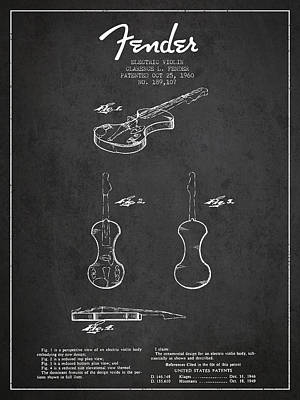 Musician Royalty-Free and Rights-Managed Images - Electric Violin Patent Drawing From 1960 by Aged Pixel