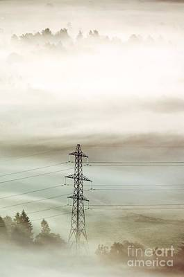Electricity Pylon In Fog Art Print