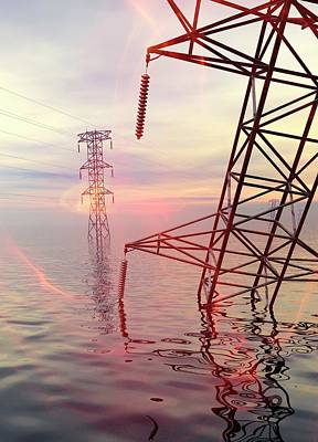 Floods Photograph - Electricity Pylons In Water by Victor Habbick Visions