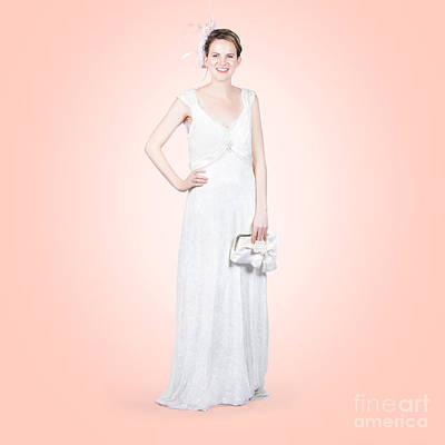 Clutch Bag Photograph - Elegant Bride In White Wedding Dress by Jorgo Photography - Wall Art Gallery