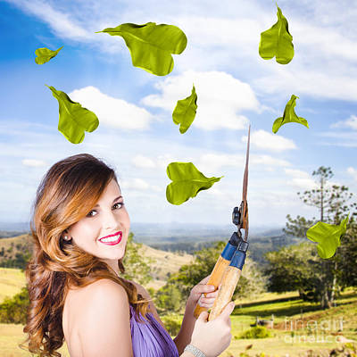 Photograph - Elegant Young Woman With Shears. Gardening Love by Jorgo Photography - Wall Art Gallery