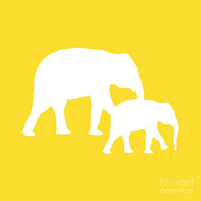 Digital Art - Elephant In Golden And White by Jackie Farnsworth