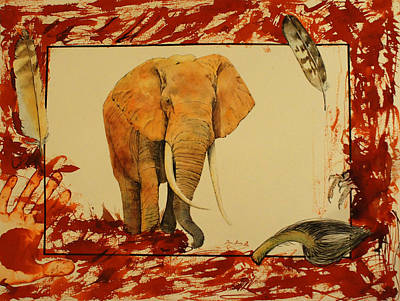 African Painting - Elephant by Juan  Bosco