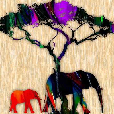 African Mixed Media - Elephant Painting by Marvin Blaine