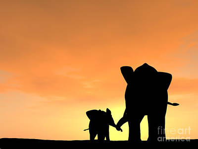 Cloudscape Digital Art - Elephant With Its Baby In A Tender Moment by Kim Freitas