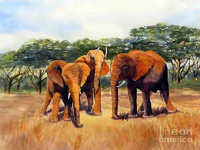 Mellow Yellow - Elephants by Hilda Vandergriff