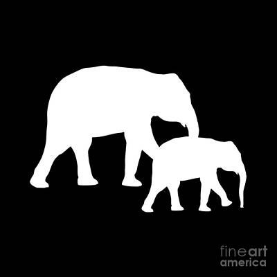 Digital Art - Elephants In Black And White by Jackie Farnsworth