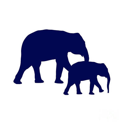Digital Art - Elephants In Navy And White by Jackie Farnsworth