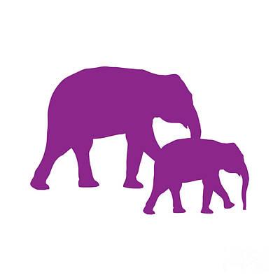 Digital Art - Elephants In Purple And White by Jackie Farnsworth