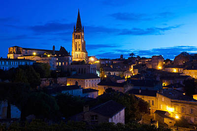 Aquitaine Photograph - Elevated View Of A Town With Eglise by Panoramic Images
