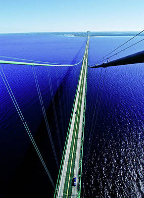 Elevated View Of Mackinac Bridge Art Print
