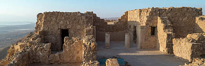 Ancient Civilization Photograph - Elevated View Of Ruins Of Fort, Masada by Panoramic Images