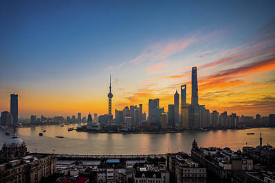Elevated View Of Shanghai Skyline At Art Print by Yongyuan Dai