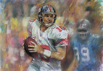 Art Print featuring the drawing Eli Manning Nfl Ny Giants by Viola El