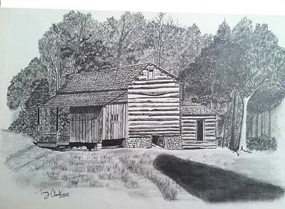 Tennessee Drawing - Elijah Oliver Cabin by Tony Clark