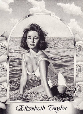 Elizabeth Taylor Drawing - Elizabeth Taylor by Herb Jordan