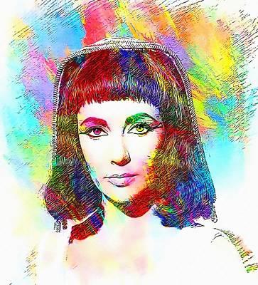 Elizabeth Taylor Digital Art - Elizabeth Taylor In Cleopatra by Art Cinema Gallery