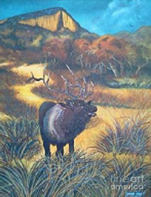 Yvonne Cacy Painting - Elk In V-rock Path by Yvonne Cacy