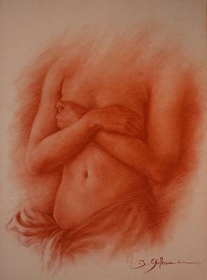 Sepia Chalk Mixed Media - Elle Est Ile by Guillaume Bruno