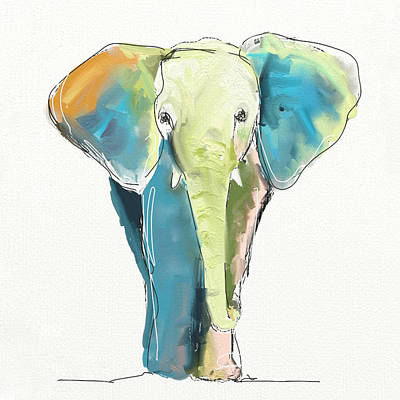 Elephants Painting - Ellie by Cathy Walters