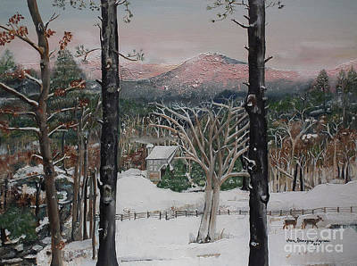 Painting - Ellijay - Pink Knob Mountain - Signed by Jan Dappen