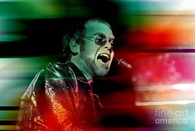 Elton John Mixed Media - Elton John by Marvin Blaine
