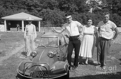 Musicians Photo Rights Managed Images - Elvis and his Messerschmitt with Vernon and Gladys Presley 1956 Royalty-Free Image by The Harrington Collection