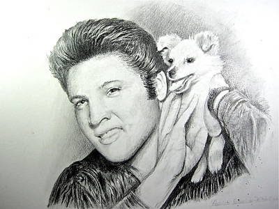 Art Print featuring the painting Elvis And Sweet Pea by Patricia Schneider Mitchell