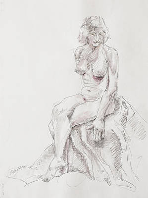 Hip Drawing - Elyn Seated  by Andy Gordon