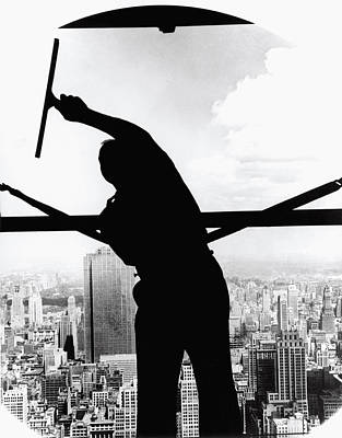 Empire State Window Washer Art Print by Underwood Archives