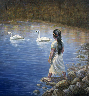Indian Fine Art Painting - Enjoying The Trumpeter Swans by Gregory Perillo