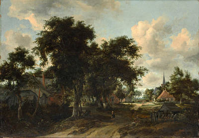 Painting - Entrance To A Village by Meindert Hobbema