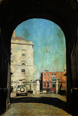 Watch Tower Photograph - Entrance To The Dublin Castle. Streets Of Dublin. Painting Collection by Jenny Rainbow