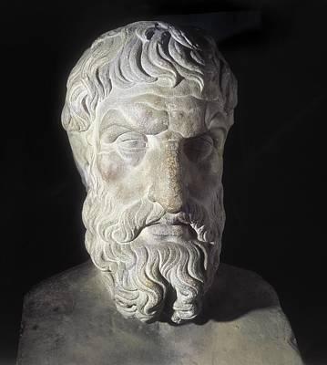 Statue Portrait Photograph - Epicurus 341-270 Bc. Greek Philosopher by Everett