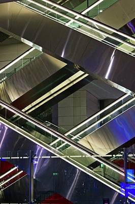 Escalators At Dubai Airport Art Print by Mark Williamson