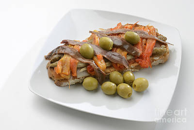 Escalivada And Olives And Anchovies On Toast Art Print by Josep Maria Penalver