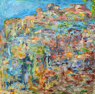 Abstract Realist Landscape Painting - Escarpment by Regina Valluzzi