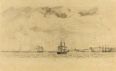 Coastal Landscape Drawing - Eugène Boudin French, 1824 - 1898, Coastal Landscape by Quint Lox