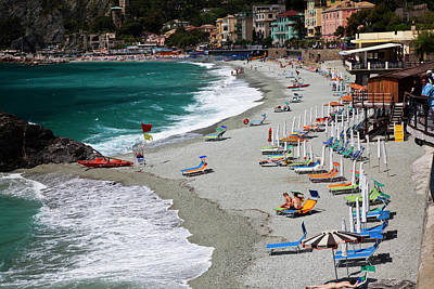 Beach Action Wall Art - Photograph - Europe, Italy, Cinque Terre, Monterosso by Terry Eggers