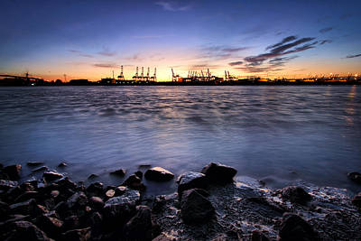 Art Print featuring the photograph Evening At The Port Of Hamburg by Marc Huebner