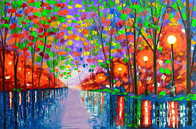 Painting - Evening In The Park by Mariana Stauffer