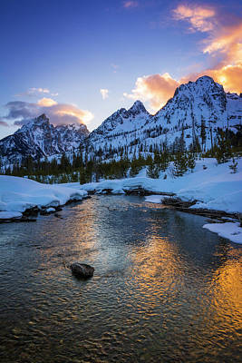 Evening Light Over The Tetons Art Print