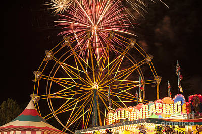 Photograph - Evergreen State Fair With Ferris Wheel And Fireworks Display by Jim Corwin
