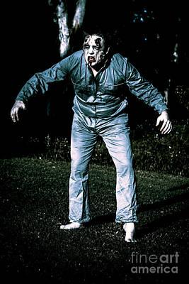 Shock Photograph - Evil Dead Horror Zombie Walking Undead In Cemetery by Jorgo Photography - Wall Art Gallery