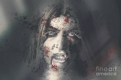 Art Glass Photograph - Evil Dead Vampire Woman Looking In Bloody Window by Jorgo Photography - Wall Art Gallery