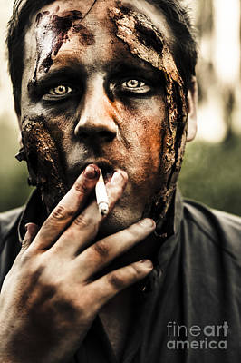 Evil Dead Zombie Smoking Cigarette Outside Art Print by Jorgo Photography - Wall Art Gallery