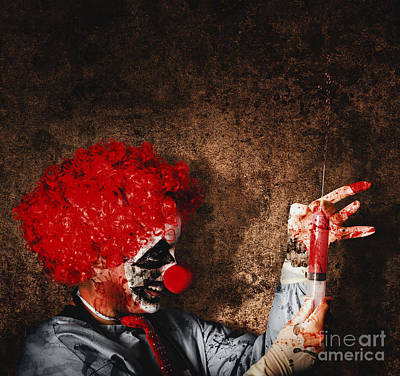Red Nose Photograph - Evil Halloween Clown With Big Scary Needle by Jorgo Photography - Wall Art Gallery