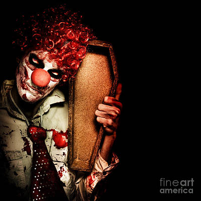 Evil Horrible Clown Holding Coffin In Darkness Art Print