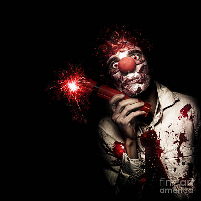 Evil Male Business Clown Holding Explosive Bomb Art Print by Jorgo Photography - Wall Art Gallery