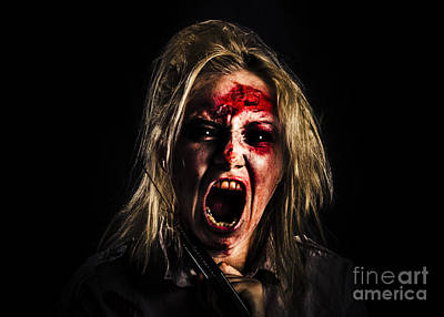 Evil Zombie Girl Screaming Out In Bloody Horror Art Print by Jorgo Photography - Wall Art Gallery